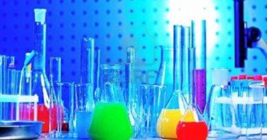 Стеклянные колбы с цветной жидкостью